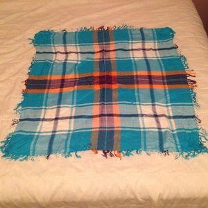 Orange and sky blue Fringed square plaid scarf